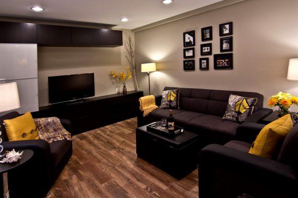 черная мебель с яркими акцентами