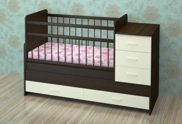 цвет венге+ваниль детская кроватка-трансформер