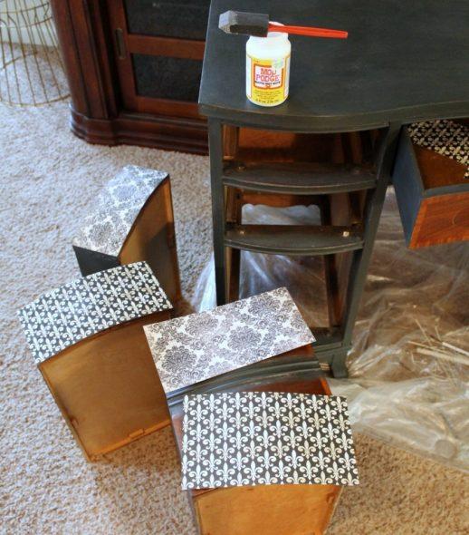 декупаж стола ящики