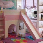 детская кровать чердак с горкой для девочки