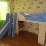 детская кровать чердак с горкой для школьника