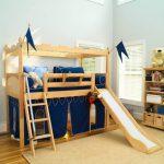 детская кровать чердак с горкой из дерева