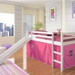 детская кровать чердак с горкой розовая