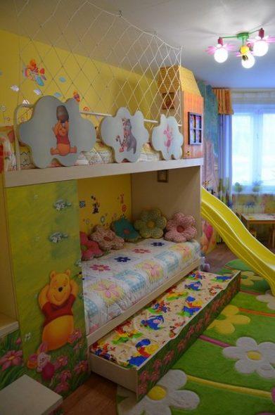 детская кровать двухъярусная с горкой