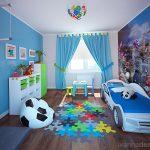 детская кровать машина в спальне