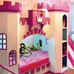 детская кровать с горкой замок