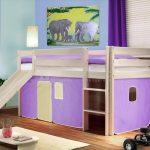 детская кровать с горкой фиолетовая