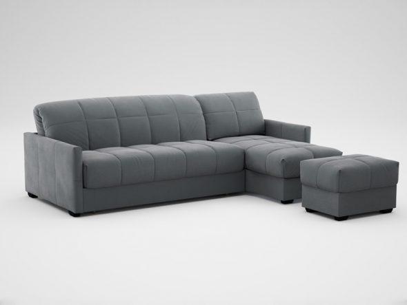 диван угловой с малым канапе и пуфом цвет жемчужно серый
