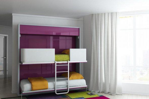 откидная двухъярусная кровать