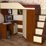 кровать-чердак с лестницей-комодом