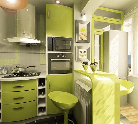 зеленый кухонный гарнитур