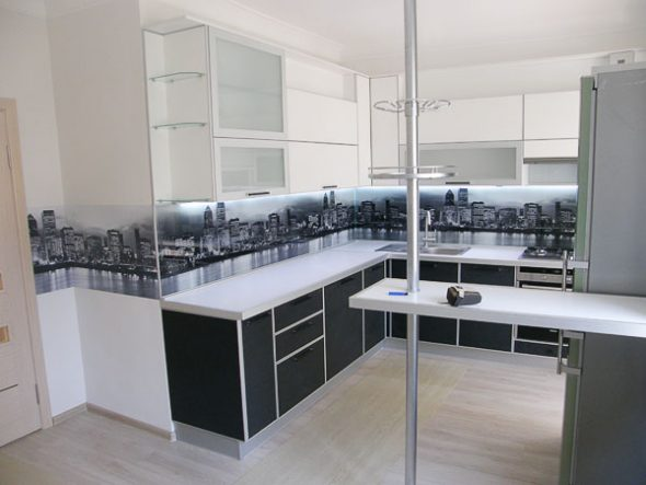белая корпусная мебель кухни