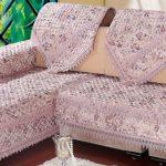 накидка на угловой диван розовая