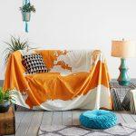 накидка на диван оранжевая