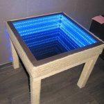 стол с эффектом бесконечности синяя подсветка