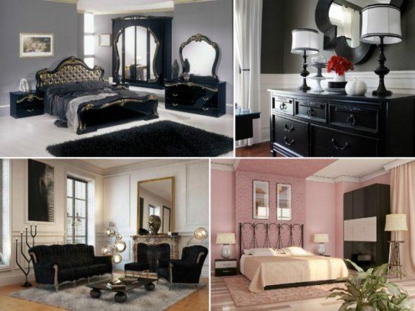 варианты черной мебели в интерьере