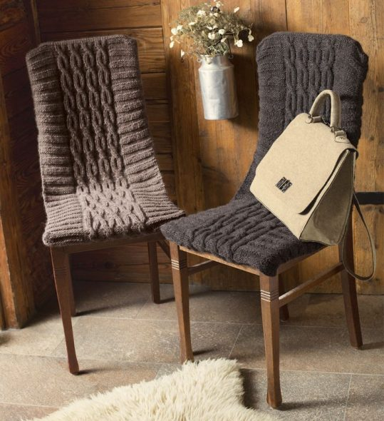 вязания на спицах чехлов на стулья с узором