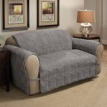 замшевый серый диван