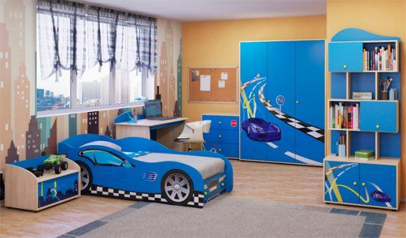 Детская мебель для мальчика в синем цветы