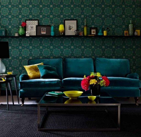 изумрудный цвет дивана