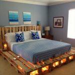 кровать из поддонов с подсветкой