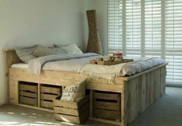 кровать с коробом и ящиками