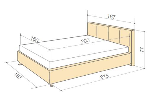 Пример размеров полуторной кровати