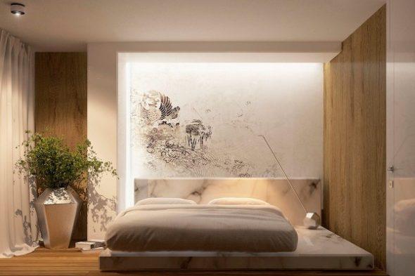 Стены в маленькой спальне