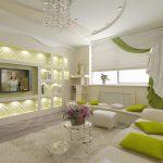 белая мебель с зеленым цветом