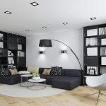 белая мебель с черным контрастом