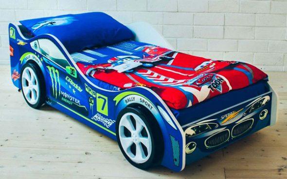 синяя кровать машина бельмарко