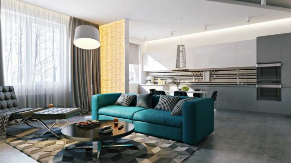 бирюзовый диван на кухне