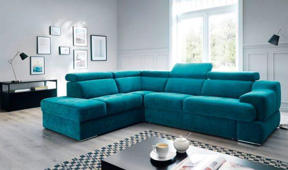 бирюзовый диван угловой
