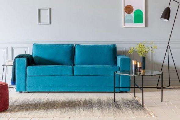 бирюзовый диван минимализм