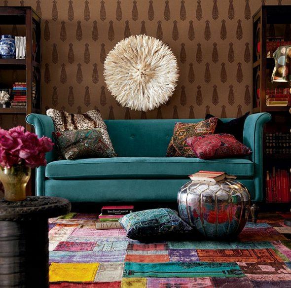 бирюзовый диван восточный стиль