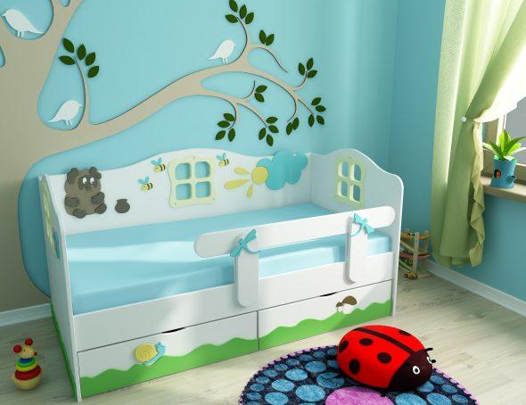кровать с бортиком в детской