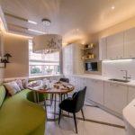 диван на кухне зеленого цвета