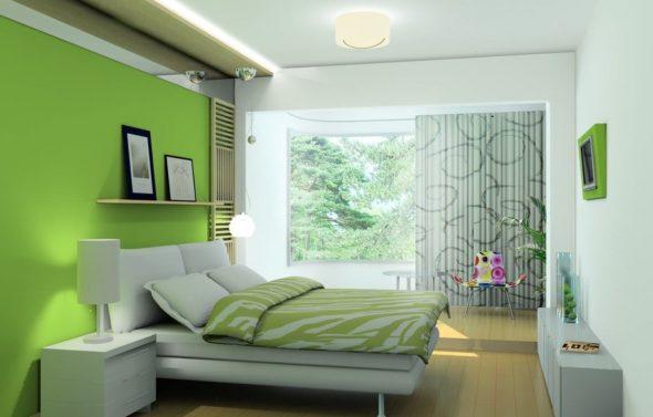 бело салатовая спальня