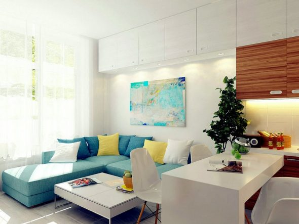 современная кухня с диваном