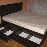 двуспальная кровать с 2 ящиками
