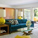 диван бирюзовый в интерьере гостиной