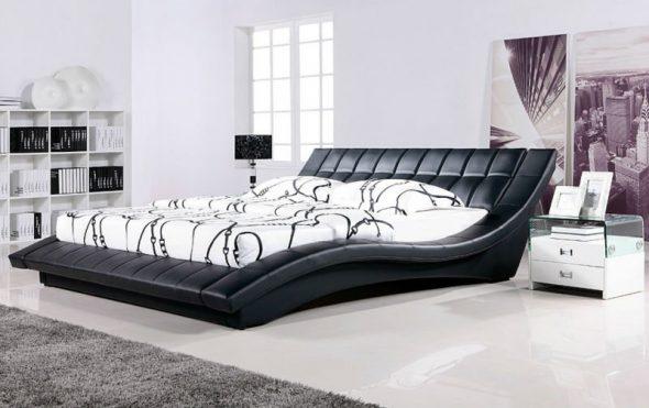 кровать двуспальная черная