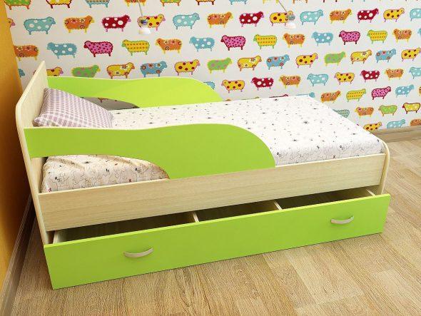 кровать с ящиками и бортиком