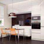 кухня с белым диваном