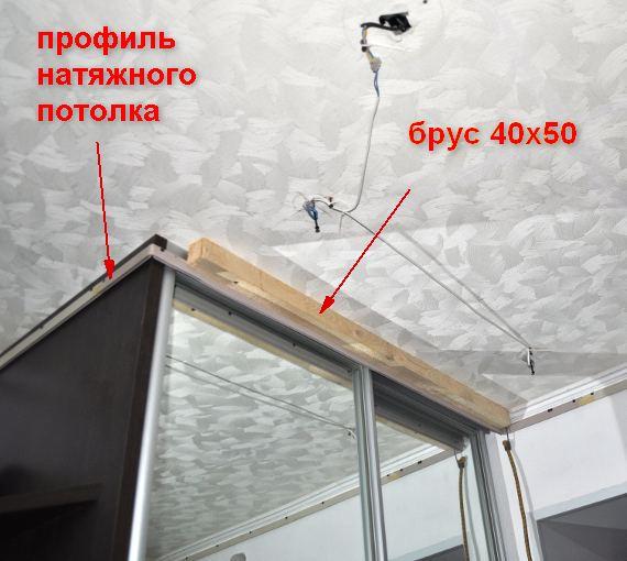 натяжной потолок на шкаф купе