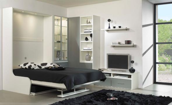 откидная черно белая кровать