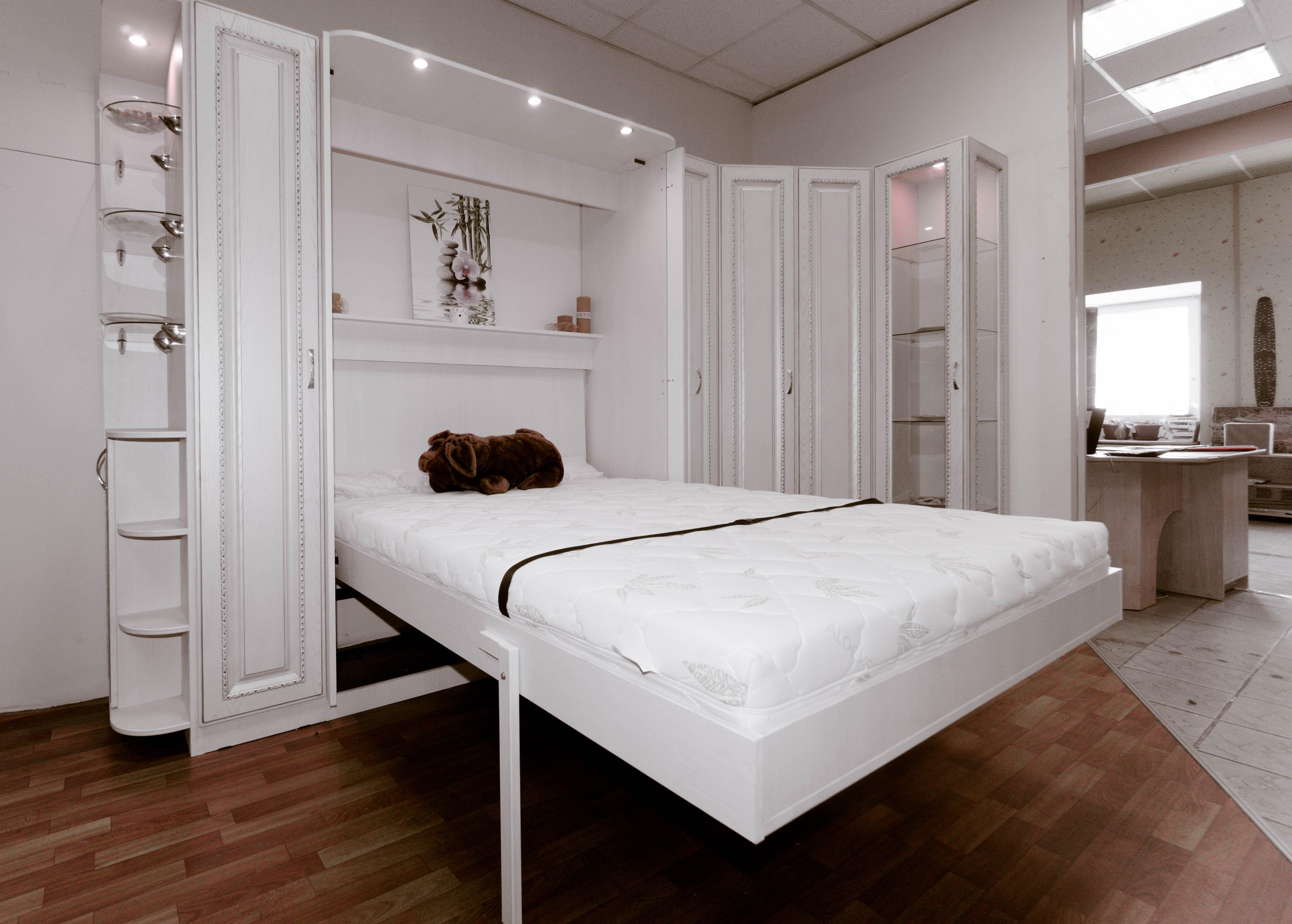 подъемная белая кровать