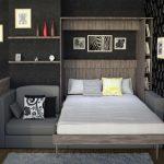 откидная кровать в темном интерьере