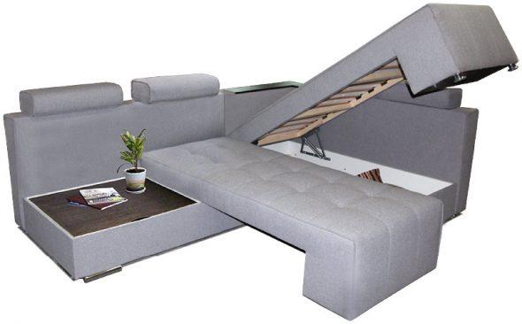 поворотный серый диван