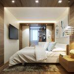 светлая мебель в бело коричневой спальне